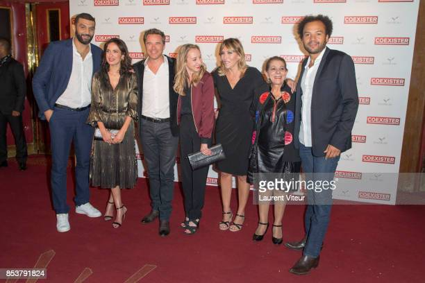 Ramzy Bedia Amelle Chahbi Guillaume de Tonquedec Audrey Lamy Mathilde Seigner guest and Fabrice Eboue attend 'Coexister' Paris Premiere at Le Grand...