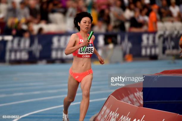 Ran Urabe of Japan running in the mixed 2000m Relay at Nitro Athletics at Lakeside Stadium on February 11 2017 in Melbourne Australia