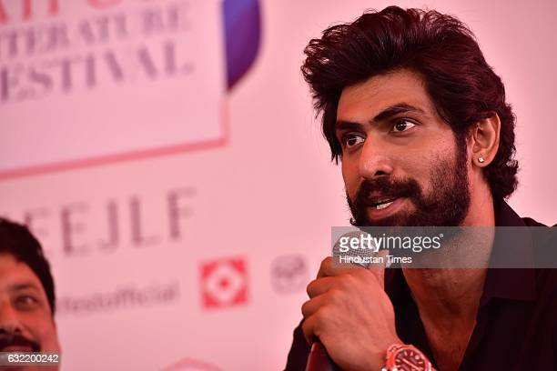 Rana Daggubati at a press conference launching the book on 'Bahubali' at the Jaipur Literature Fest 2017 on January 20 2017 in Jaipur India