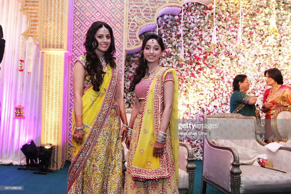 Rana Kapoor's daughters Radaha (L) and Roshini (R) attending the marriage reception of their elder sister at Taj Palace on November 30, 2012 in New Delhi, India. Kapoor is the MD & CEO of YES Bank, which is the 4th largest private sector bank in the country.
