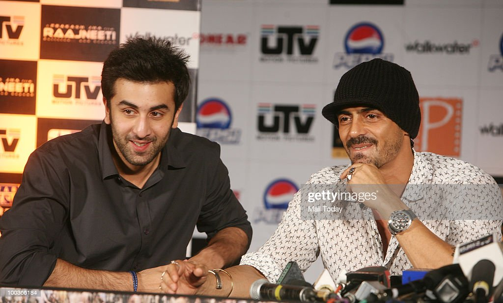 Ranbir Kapoor and Arjun Rampal at a promotional evnt for the film Rajneeti in New Delhi on May 20, 2010.