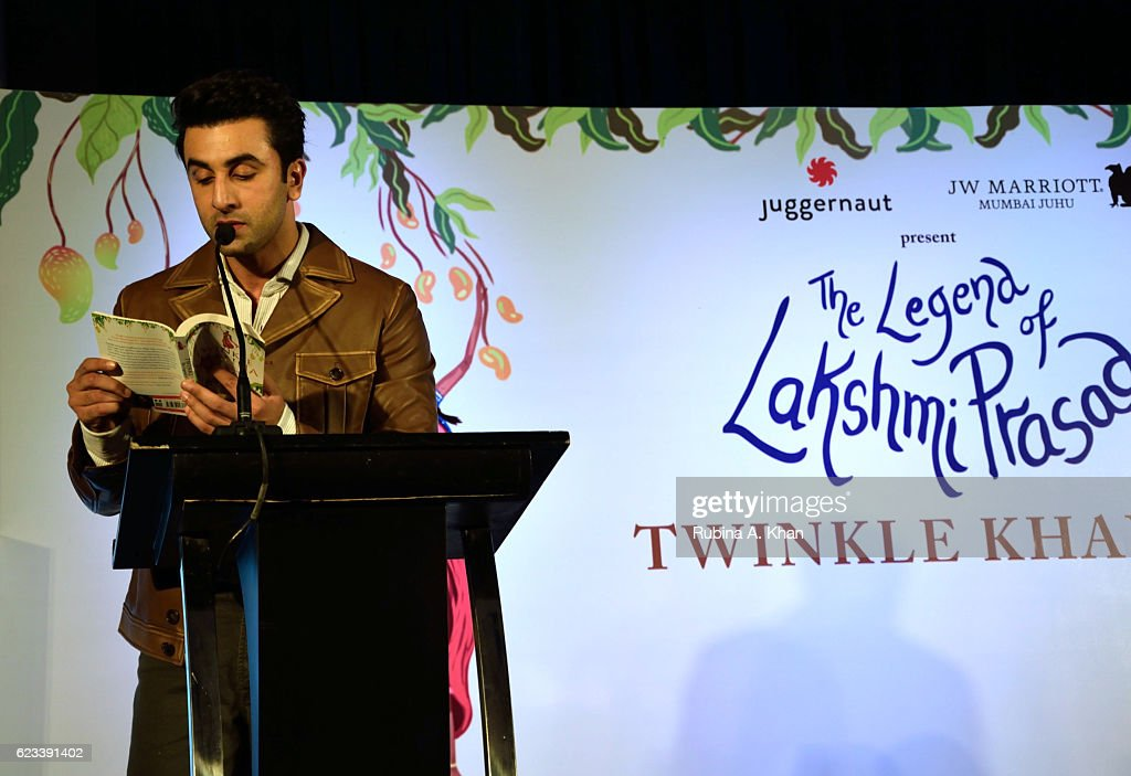 Ranbir Kapoor reading an excerpt from Twinkle Khanna's second book, The Legend of Lakshmi Prasad, published by Juggernaut Books, at the JW Marriott on November 15, 2016 in Mumbai, India.