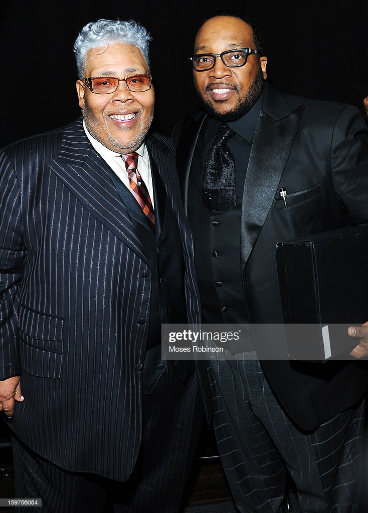Rance Allen and <a gi-track='captionPersonalityLinkClicked' href=/galleries/search?phrase=Marvin+Sapp&family=editorial&specificpeople=4063424 ng-click='$event.stopPropagation()'>Marvin Sapp</a> attend the 28th Annual Stellar Awards Backstage at Grand Ole Opry House on January 19, 2013 in Nashville, Tennessee.