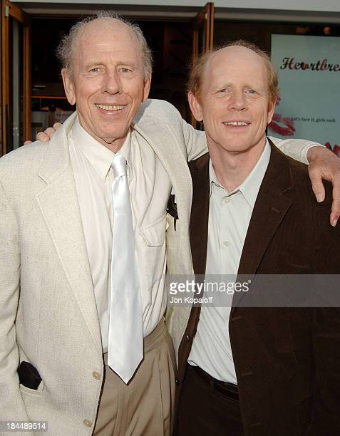 Rance Howard and son Ron Howard during 'Cinderella Man' Los Angeles Premiere at Gibsob Amphitheater in Universal City California United States