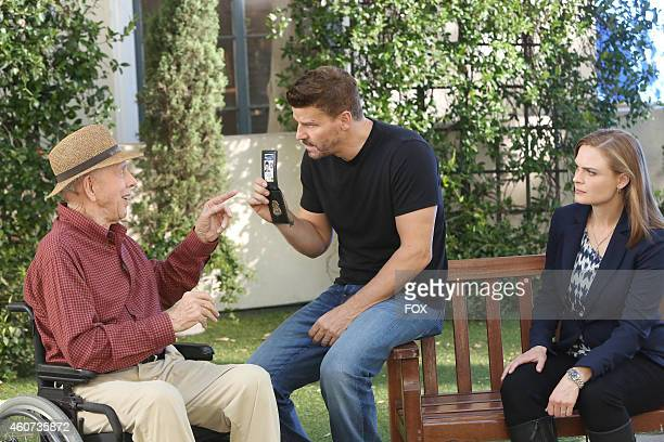 Rance Howard David Boreanaz and Emily Deschanel in the 'The Conspiracy in the Corpse' season premiere episode of BONES airing Thursday Sept 25 2014...