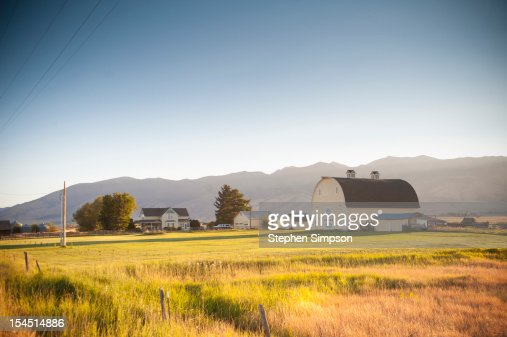 ranch/farm house with barn and out buildings