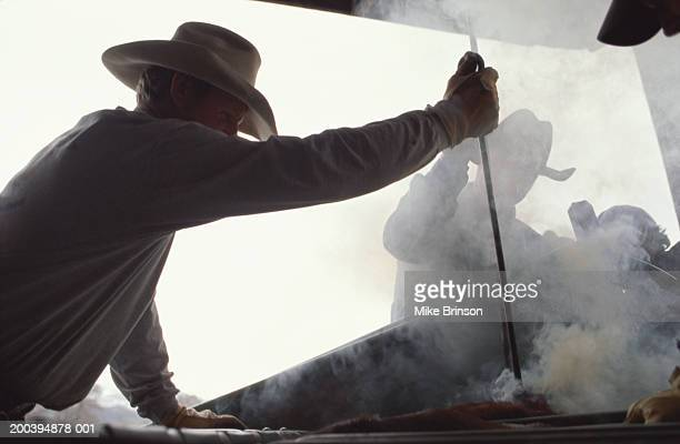 Ranchmen branding cattle with red hot irons