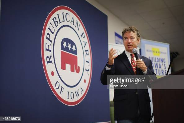 S Rand Paul speaks at an event hosted by the Iowa GOP Des Moines Victory Office on August 6 2014 in Urbandale Iowa Paul who is expected to seek the...