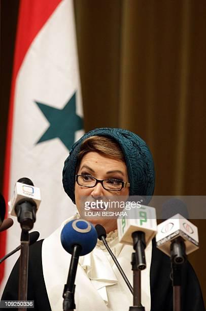 Randa Berri the wife of Lebanese Parliament Speaker Nabih Berri addresses the IslamicChristian Fraternity Conference organised by the Ministry of...