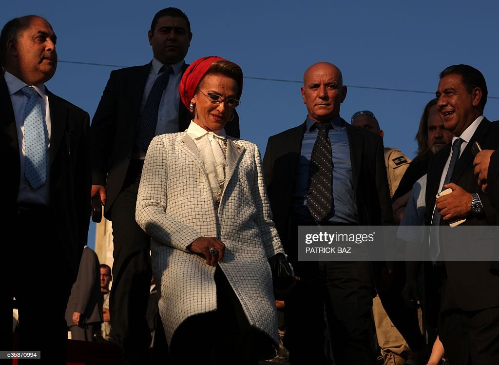 Randa Berri, the wife of Lebanon's parliament speaker Nabih Berri arrives at the Grotto of Our Lady of Mantara in the southern Lebanese town of Maghdouche East of Sidon, on May 29, 2016, during the launch of an event by the Ministry of Tourism to put the Grotto of Maghdouche on the international religious tourism map. Magdouche, along with Lourdes in France, Fatima in Portugal and Medugorje in Bosnia & Herzegovina are expected to be put on the international religious tourism map. According to local tradition the Virgin Mary accompanied Jesus during his journey to Tyre and to Sidon and waited for him in the grotto at Magdoucheh. The grotto was discovered 400 years ago. / AFP / Patrick BAZ