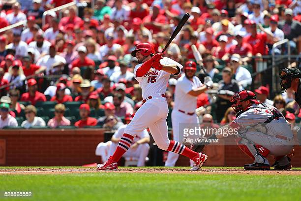 Randal Grichuk of the St Louis Cardinals bats against the Cincinnati Reds at Busch Stadium on April 17 2016 in St Louis Missouri