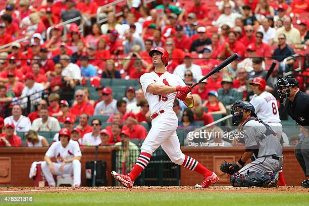 Randal Grichuk of the St Louis Cardinals bats against the Minnesota Twins at Busch Stadium on June 16 2015 in St Louis Missouri