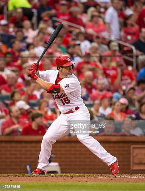 Randal Grichuk of the St Louis Cardinals bats against the Minnesota Twins on June 15 2015 at Busch Stadium in St Louis Missouri The Cardinals...