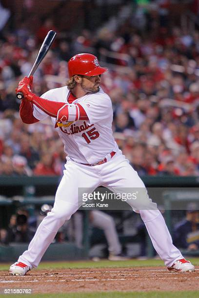 Randal Grichuk of the St Louis Cardinals bats during the first inning of a baseball game against the Milwaukee Brewers at Busch Stadium on April 13...