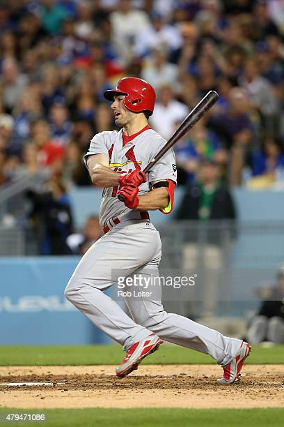 Randal Grichuk of the St Louis Cardinals bats during the game against the Los Angeles Dodgers at Dodger Stadium on June 6 2015 in Los Angeles...