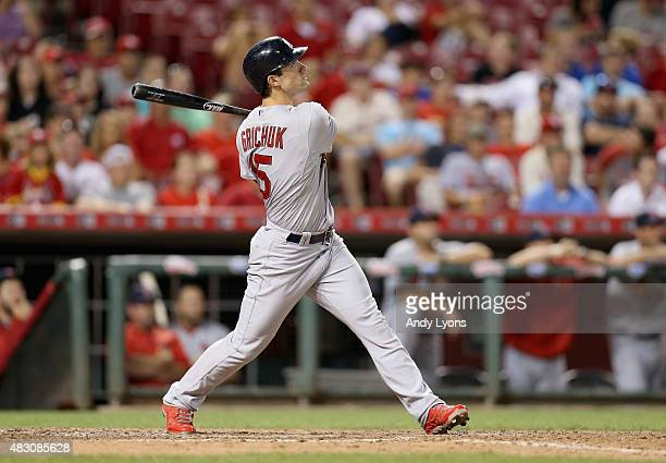 Randal Grichuk of the St Louis Cardinals hits a game winning home run in the 13th inning against the Cincinnati Reds for a 43 win at Great American...