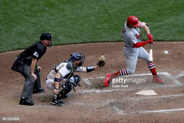 Randal Grichuk of the St Louis Cardinals hits a home run in the fifth inning against the Milwaukee Brewers at Miller Park on August 30 2017 in...