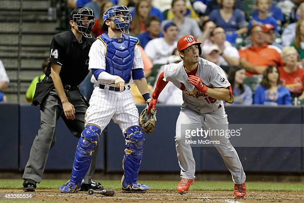 Randal Grichuk of the St Louis Cardinals hits a solo home run in the fifth inning against the Milwaukee Brewers at Miller Park on August 07 2015 in...