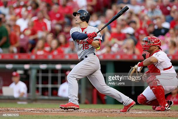 Randal Grichuk of the St Louis Cardinals hits a tripple in the third inning against the Cincinnati Reds at Great American Ball Park on August 4 2015...