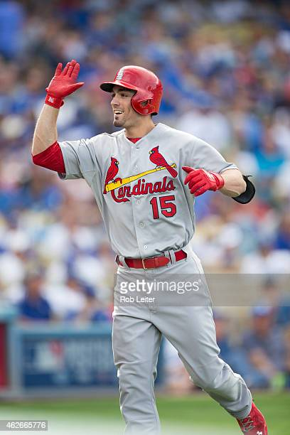 Randal Grichuk of the St Louis Cardinals is greeted in the dugout after hitting a home run in the top of the first inning of Game 1 of the NLDS...