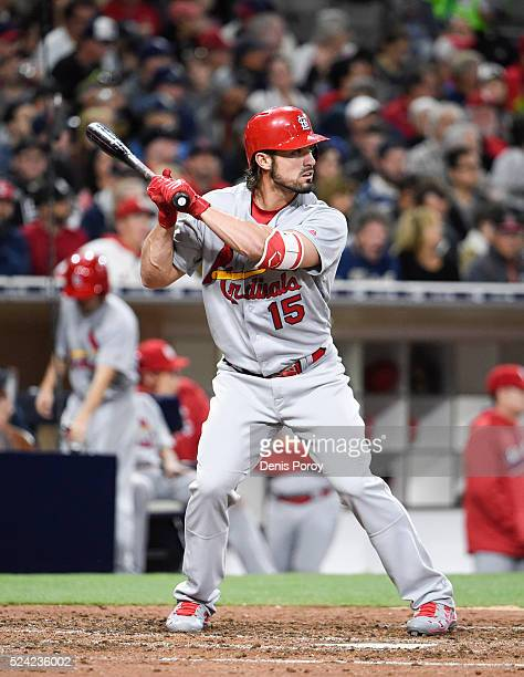 Randal Grichuk of the St Louis Cardinals plays during a baseball game against the San Diego Padres at PETCO Park on April 22 2016 in San Diego...