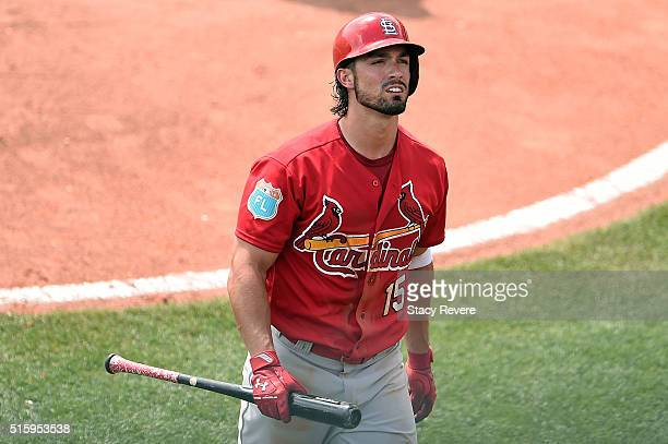 Randal Grichuk of the St Louis Cardinals reacts to a strike out during the fifth inning of a spring training game against the Atlanta Braves at...