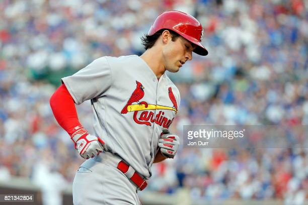 Randal Grichuk of the St Louis Cardinals rounds the bases after hitting a two run home run against the Chicago Cubs during the second inning at...
