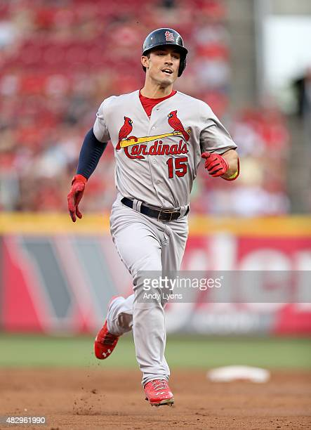 Randal Grichuk of the St Louis Cardinals runs to third base for a tripple in the third inning against the Cincinnati Reds at Great American Ball Park...
