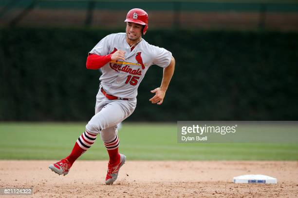 Randal Grichuk of the St Louis Cardinals runs to third base in the eighth inning against the Chicago Cubs at Wrigley Field on July 21 2017 in Chicago...