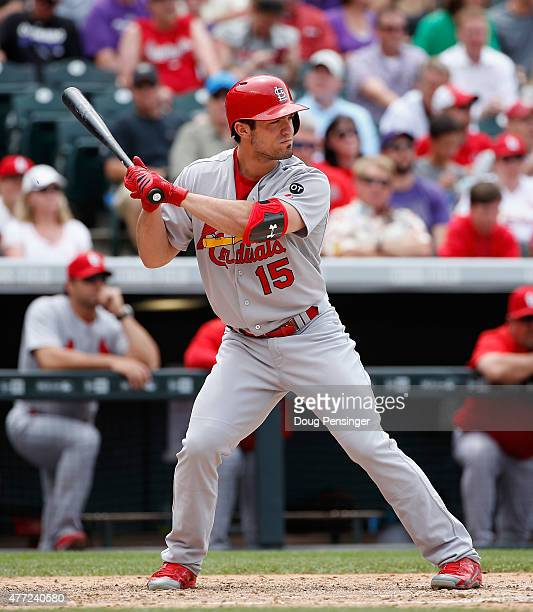Randal Grichuk of the St Louis Cardinals takes an at bat against the Colorado Rockies at Coors Field on June 10 2015 in Denver Colorado The Cardinals...
