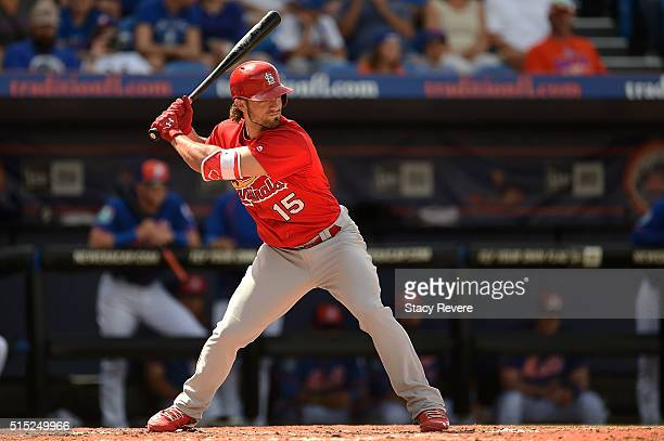 Randal Grichuk of the St Louis Cardinals waits for a pitch during a spring training game against the New York Mets at Tradition Field on March 12...