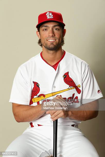 Randal Grichuk poses for a portrait during St Louis Cardinals Photo Day at Roger Dean Stadium on February 20 2017 in Jupiter Florida