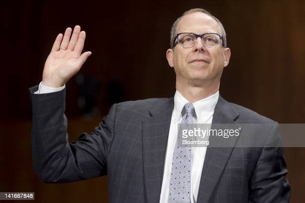 Randal Milch executive vice president and general counsel with Verizon Communications Inc swears into a Senate Judiciary Committee hearing in...