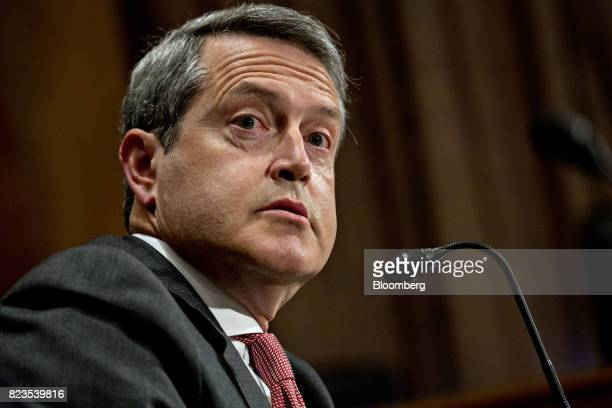 Randal Quarles governor of the US Federal Reserve nominee for US President Donald Trump speaks during a Senate Banking Committee nomination hearing...