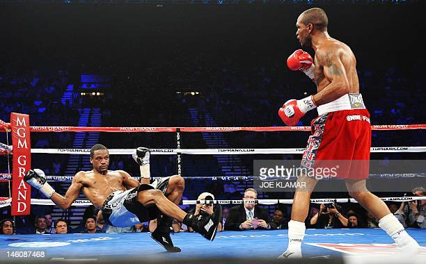 Randall Bailey of the US floors compatriot Mike Jones for an 11th round knock out victory in their fight for the vacant IBF Welterweight Championship...
