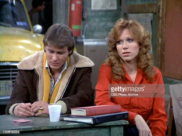 Randall Carver as John Burns and Marilu Henner as Elaine O'ConnorNardo in the TAXI episode 'Friends' Original airdate January 30 1979 Image is a...