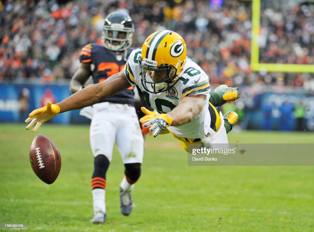 Randall Cobb #18 of the Green Bay Packers can't make a catch against the Chicago Bears on December 16, 2012 at Soldier Field in Chicago, Illinois.
