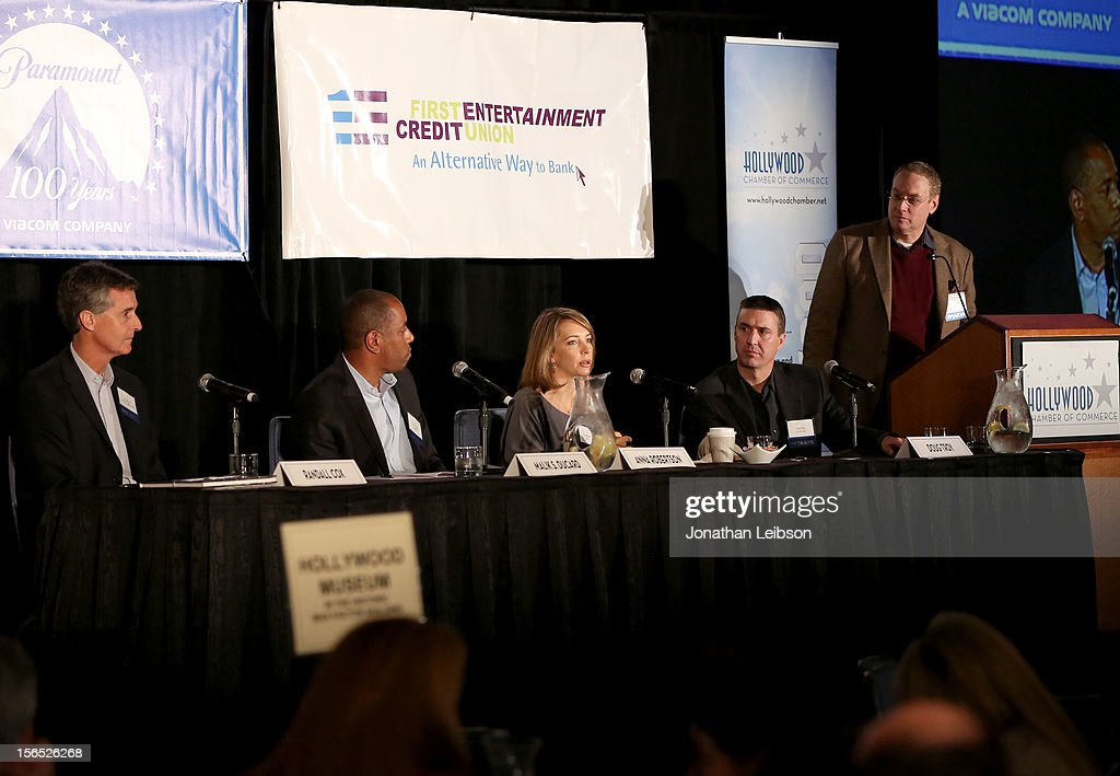 Randall Cox, President, RogueLife, Relativity Media, Malik S. Ducard, Content Partnerships Director, Google, Anna Robertson, Head of Yahoo! Studios, Doug Troy, COO/CFO, Trailer Park, and Moderator David Cohen, Variety speak onstage during the Is Silicon Beach Real for the Entertainment Industry? Panel at Variety's Hollywood Chamber Entertainment Conference 2012 at Loews Hollywood Hotel on November 16, 2012 in Hollywood, California.