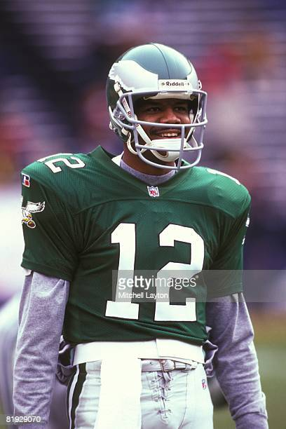 Randall Cunningham of the Philadelphia Eagles during a NFL football game against the Washinton Redskins on November 1 1995 at RFK Stadium in...