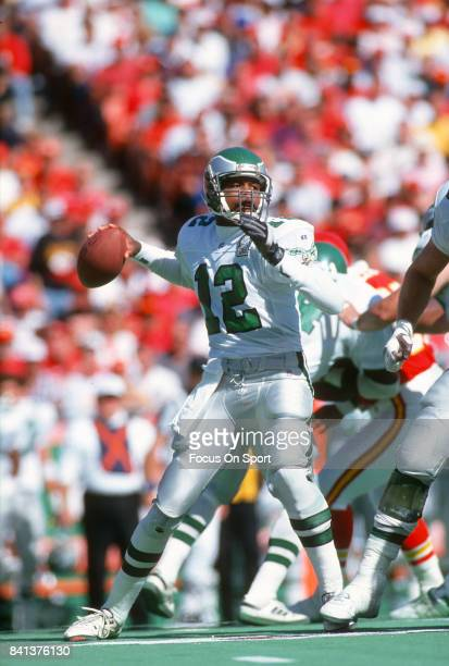 Randall Cunningham of the Philadelphia Eagles looks to pass against the Kansas City Chiefs during an NFL Football game October 11 1992 at Arrowhead...