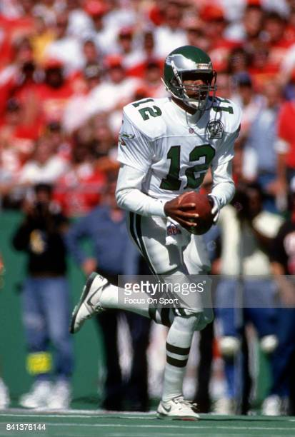 Randall Cunningham of the Philadelphia Eagles runs with the ball against the Kansas City Chiefs during an NFL Football game October 11 1992 at...