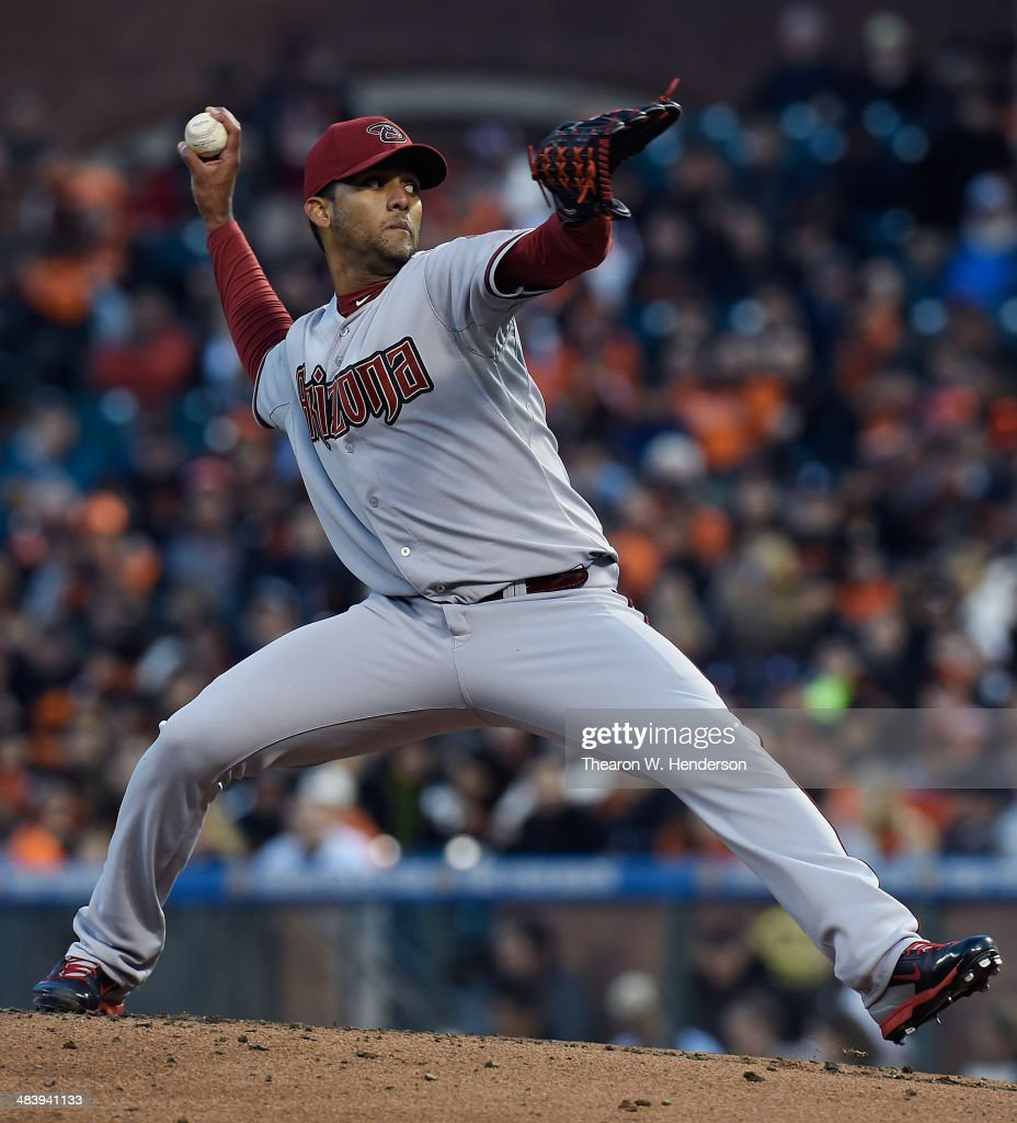 Randall Delgado #48 of the Arizona Diamondbacks pitches against the San Francisco Giants in the bottom of the first inning at AT&T Park on April 10, 2014 in San Francisco, California.
