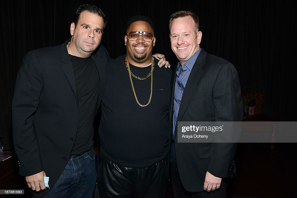 Randall Emmett (L) and L.T. Hutton (C) attend the Emmett/Furla/Oasis Films hosts celebration for the upcoming production of 'Tupac' at Zanzibar on November 7, 2013 in Santa Monica, California.