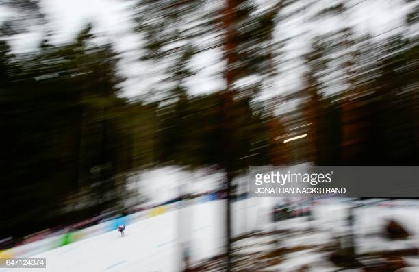 Randall Kikkan of USA competes during the women 4 x 50 km Relay event at the 2017 FIS Nordic World Ski Championships in Lahti Finland on March 2 2017...