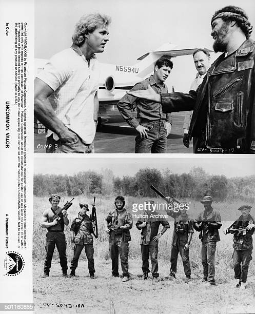 Randall 'Tex' Cobb shakes hands with Reb Brown in a scene LR Reb Brown Fred Ward Randall 'Tex' Cobb Gene HackmanPatrick Swayze and Harold Sylvester...