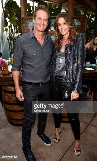 Rande Gerber and Cindy Crawford attend Barbra Streisand's 75th birthday at Cafe Habana on April 24 2017 in Malibu California
