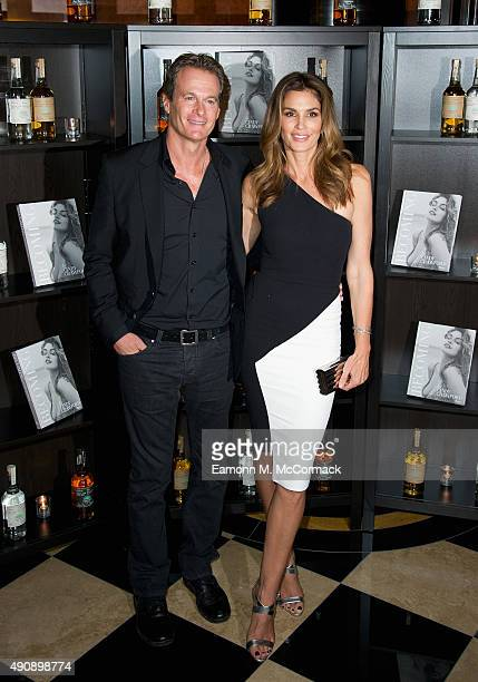 Rande Gerber and Cindy Crawford attend the Casamingos Tequila Cindy Crawford book launch party at The Beaumont Hotel on October 1 2015 in London...