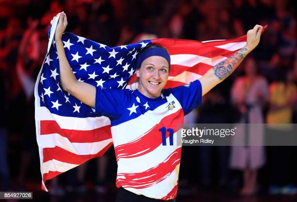 Randi Hobson of the United States celebrates winning Bronze in the Sitting Volleyball finals during the Invictus Games 2017 at Mattamy Athletics...