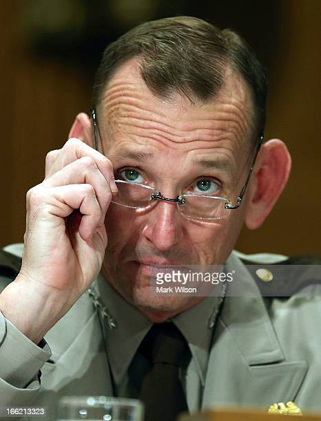 Randolph Alles of the Customs and Border Protection's Office testifies during a Senate Homeland Security hearing on Capitol Hill April 10 2013 in...