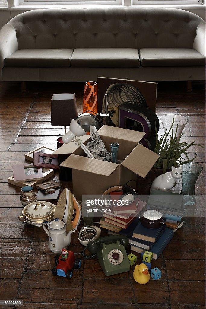 random objects on living room floor